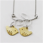 silver leaf branch gold love bird necklace